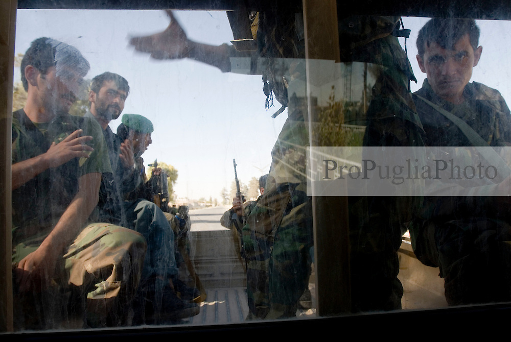 Helmand Province, Lashkargah  City..ANA soldiers on board of their track for patrolling