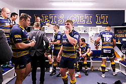 Jack Singleton of Worcester Warriors celebrates after beating Gloucester Rugby and securing Premiership Rugby status - Mandatory by-line: Robbie Stephenson/JMP - 28/04/2019 - RUGBY - Sixways Stadium - Worcester, England - Worcester Warriors v Gloucester Rugby - Gallagher Premiership Rugby