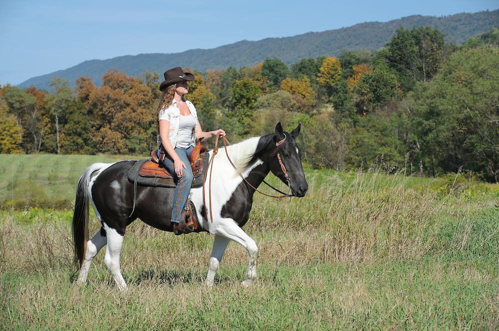 Woman horseback riding walking through open grassy field on a paint horse wearing western style clothing and cowboy hat, a sunny day in the countryside of Pennsylvania, PA, USA.