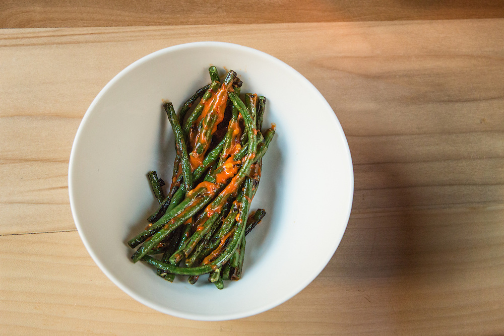 Long beans with chili and uni.