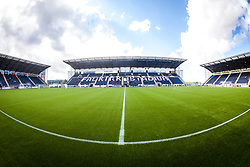 The three stands seen from the half-way line, at The Falkirk Stadium, with the new pitch work for the Scottish Championship game v Morton. The woven GreenFields MX synthetic turf and the surface has been specifically designed for football with 50mm tufts compared with the longer 65mm which has been used for mixed football and rugby uses.  It is fully FFA two star compliant and conforms to rules laid out by the SPL and SFL.<br /> &copy;Michael Schofield.