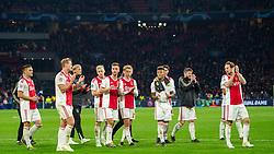 10-04-2019 NED: Champions League AFC Ajax - Juventus,  Amsterdam<br /> Round of 8, 1st leg / Ajax plays the first match 1-1 against Juventus during the UEFA Champions League first leg quarter-final football match / Dusan Tadic #10 of Ajax, Matthijs de Ligt #4 of Ajax, Donny van de Beek #6 of Ajax, Joel Veltman #3 of Ajax, Frenkie de Jong #21 of Ajax, David Neres #7 of Ajax, Daley Blind #17 of Ajax