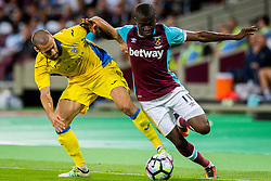 Alvaro Brachi of NK Domzale and Enner Valencia of West Ham during 2nd Leg football match between West Ham United FC and NK Domzale in 3rd Qualifying Round of UEFA Europa league 2016/17 Qualifications, on August 4, 2016 in London, England.  Photo by Ziga Zupan / Sportida