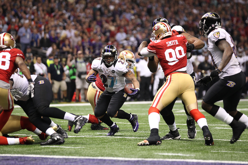 Ray Rice (27) of the Baltimore Ravens in action against the San Francisco 49ers during the NFL Super Bowl XLVII football game in New Orleans on Feb. 3, 2013. The Ravens won the game, 34-31.  (Photo by Jed Jacobsohn)