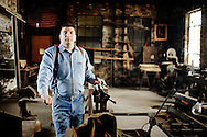 John Lamonica owner of the Butler Street foundry, a 100-year-old foundry in Bridgeport in an upstairs room he plans on seting up for blacksmithing, previous 40+ years it was a store room..