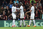 (Caption Correction) Goal - Romelu Lukaku (9) of Manchester United celebrates scoring a goal to give a 0-2 lead to the away team Paul Pogba (6) of Manchester United and Anthony Martial (11) of Manchester United during the Premier League match between Bournemouth and Manchester United at the Vitality Stadium, Bournemouth, England on 18 April 2018. Picture by Graham Hunt.