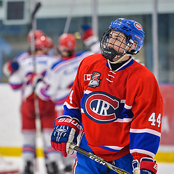 OAKVILLE, ON  - FEB 23,  2018: Ontario Junior Hockey League game between the Oakville Blades and the Toronto Jr. Canadiens, Tyler Sampson #44 of the Toronto Jr. Canadiens skates back to the bench as the Blades celebrate what would hold up to be the winning goal during the third period.<br /> (Photo by Ryan McCullough / OJHL Images)
