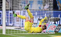 Fussball  1. Bundesliga  Saison 2016/2017  27. Spieltag  TSG 1899 Hoffenheim - FC Bayern Muenchen    04.04.2017 Torwart Oliver Baumann (TSG 1899 Hoffenheim) liegt im Tor