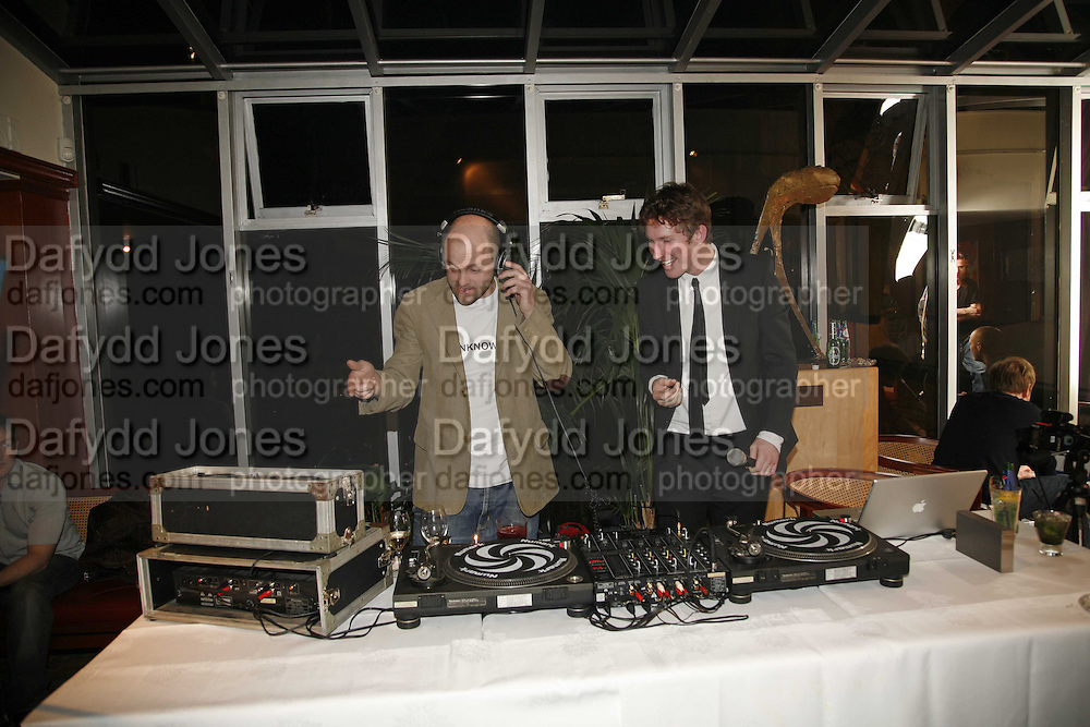 GAVIN TURK AND CHRISTOPHER TAYLOR, Sir Peter Blake and Poppy De Villeneuve host a party with University of the Arts London at the Arts Club, Dover Street, London. 20 APRIL 2006<br />