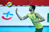 Brazil's Leandro Vissotto Neves serves the ball while volleyball match between Brazil and Russia during the 2014 FIVB Volleyball World Championships at Spodek Hall in Katowice on September 14, 2014.<br /> <br /> Poland, Katowice, September 14, 2014<br /> <br /> For editorial use only. Any commercial or promotional use requires permission.<br /> <br /> Mandatory credit:<br /> Photo by © Adam Nurkiewicz / Mediasport