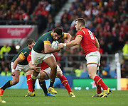 South Africa's Damian De Allende on the attack during the Rugby World Cup Quarter Final match between South Africa and Wales at Twickenham, Richmond, United Kingdom on 17 October 2015. Photo by Matthew Redman.