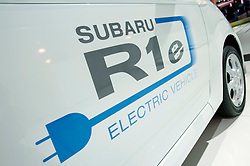 Detail of new Subaru R1e electric plug in car at the Frankfurt Motor Show 2009