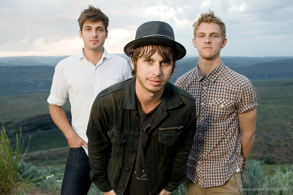 George, WA. - May 28th, 2011 (From left) Cubbie Fink, Mark Foster and Mark Pontius of Foster the People pose for a portrait backstage at the Sasquatch Music Festival in George, WA. United States