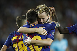 (L-R) Lionel Messi of FC Barcelona, Ivan Rakitic of FC Barcelona during the UEFA Champions League group D match between FC Barcelona and Juventus FC  on September 12, 2017  at the Camp Nou stadium in Barcelona, Spain.