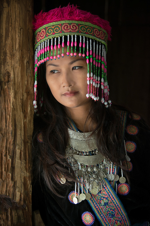 Dressed as a Hill Tribe Woman - Jang Craker in Chiang Mai, Thailand. PHOTO BY LEE CRAKER