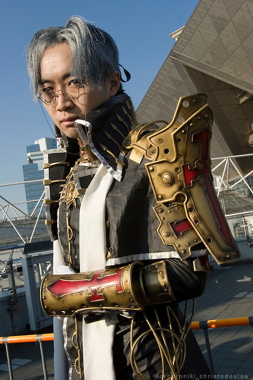 "Cosplayer dressed as ""Abel Nighthroad"", character from anime ""TRINITY BLOOD"". TOKYO COMIC MARKET ""COMIKET"" the biggest comic market in Japan. Independent designers come to sell their comics, there is anime, manga, cosplay, toys, posters etc. At ""Tokyo Big Sight"" exhibition center."