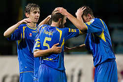 Marko Drevensek of Domzale, Rok Hanzic of Domzale and Ivan Knezovic of Domzale celebrate after winning the football match between NK Domzale and MIK CM Celje, played in the 10th Round of Prva liga football league 2010 - 2011, on September 22, 2010, Spors park, Domzale, Slovenia. Domzale defeated Celje 1 - 0. (Photo by Vid Ponikvar / Sportida)