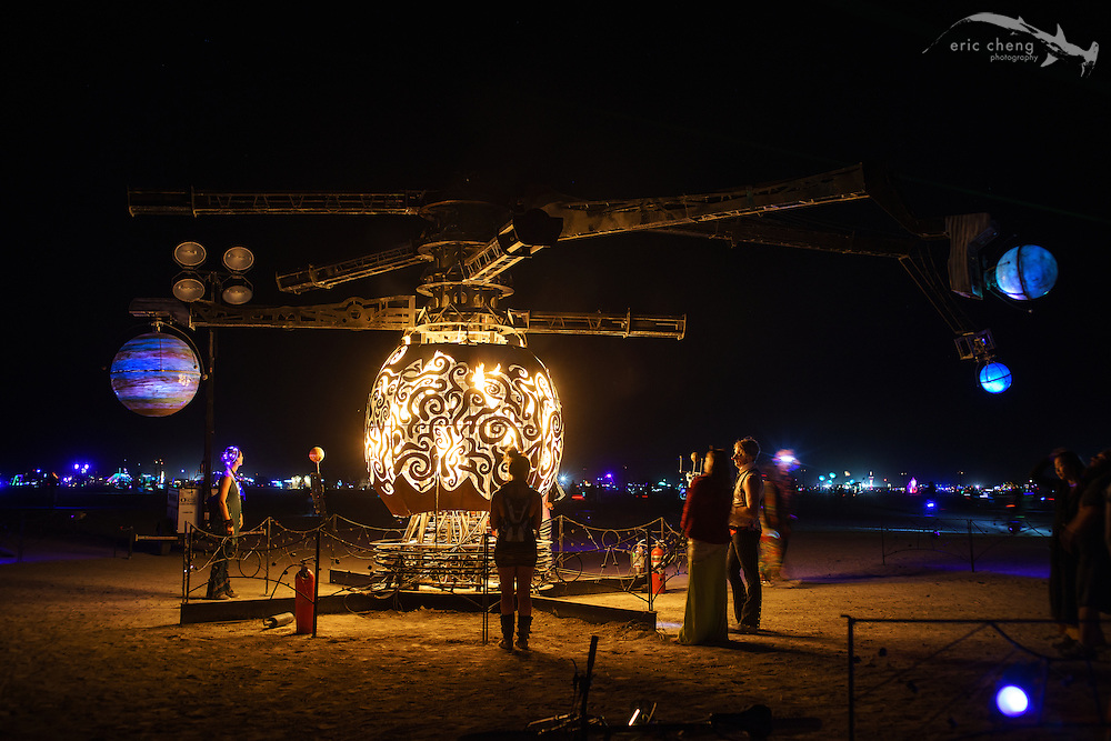 Art installation at night. Burning Man 2014.