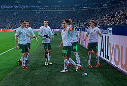 03.02.2018, Veltins Arena, Gelsenkirchen, GER, 1. FBL, Schalke 04 vs SV Werder Bremen, 21. Runde, im Bild Jubel um Max Kruse (SV Werder Bremen #10) nach dessen Treffer zum 1:1 // during the German Bundesliga 21th round match between Schalke 04 and SV Werder Bremen at the Veltins Arena in Gelsenkirchen, Germany on 2018/02/03. EXPA Pictures © 2018, PhotoCredit: EXPA/ Andreas Gumz<br /> <br /> *****ATTENTION - OUT of GER*****