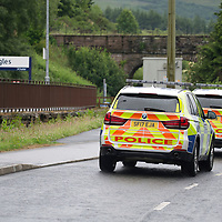 Armed Robbery At Glenagles Hotel in Perthshire…27.06.17<br />Police pictured at Gleneagles Hotel after an armed robbery at the jewellers within the hotel took place this morning…Armed police, dogs and the a police helicopter joined the hunt for the robber. Armed police patrolling the car park at Gleneagles Railway Station<br />Picture by Graeme Hart.<br />Copyright Perthshire Picture Agency<br />Tel: 01738 623350  Mobile: 07990 594431