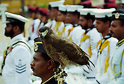 Military parade with eagle army mascot in Colombo, Sri Lanka