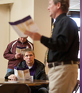 Taylor Linder (from left), 18, of Ames, Iowa listens to Professor John Robinson talk about the business major program during an open house at Waldorf College in Forest City, Iowa on Saturday, May 14, 2011.
