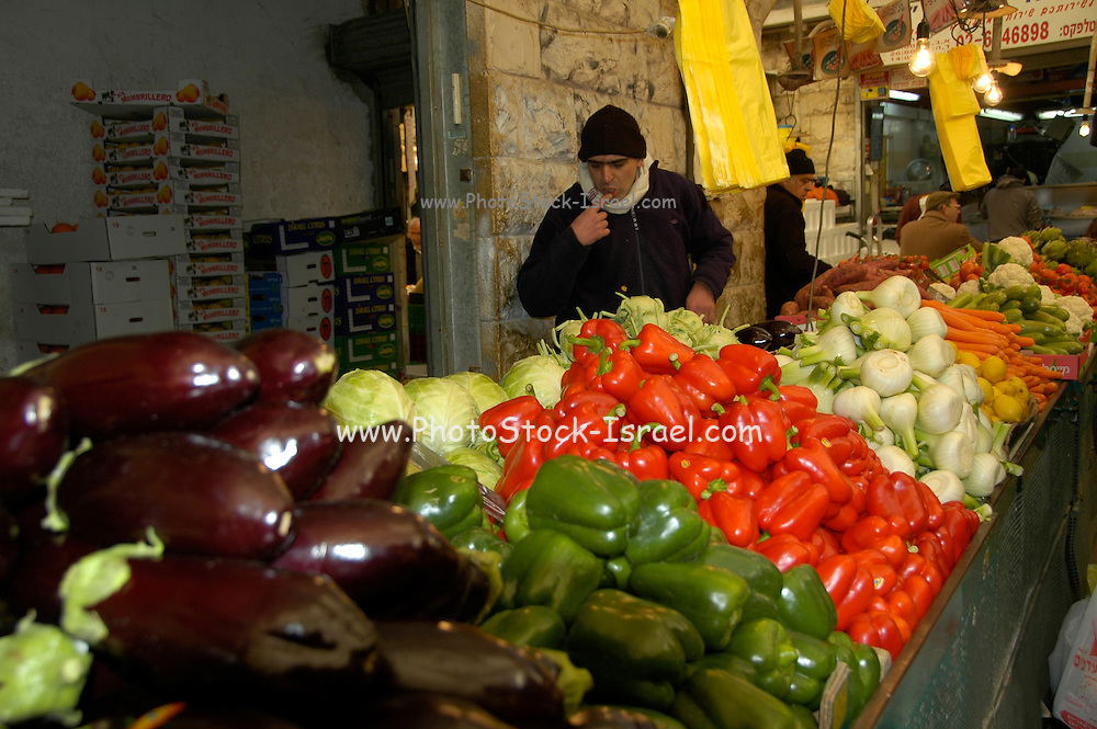 Vegetable stall Photographed at Machane Yehuda Market, Jerusalem, Israel