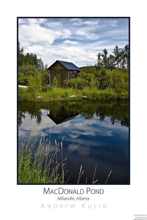 Photograph of a fishing shack at a rural pond in the foothills of Alberta with beautiful wild Rainbows