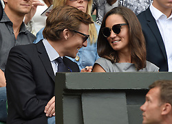Image licensed to i-Images Picture Agency. 06/07/2014. London, United Kingdom. Pippa Middleton and Nico Jackson in the Royal Box  at the Wimbledon Men's Final.  Picture by i-Images