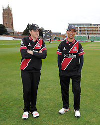 Somerset's Josh Davey and Alfonso Thomas  - Photo mandatory by-line: Harry Trump/JMP - Mobile: 07966 386802 - 30/03/15 - SPORT - CRICKET - Pre Season Fixture - T20 - Somerset v Gloucestershire - The County Ground, Somerset, England.