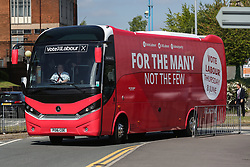 © Licensed to London News Pictures. 09/05/2017. Salford, UK. Labour's general election battle bus arrives in Salford where Leader Jeremy Corbyn addressed supporters and the media after the launch of the party's general election campaign this morning. Photo credit : Ian Hinchliffe/LNP