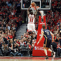 16 April 2011: Chicago Bulls shooting guard Ronnie Brewer (11) goes for the dunk during the Chicago Bulls 104-99 victory over the Indiana Pacers, during the game 1 of the Eastern Conference first round at the United Center, Chicago, Illinois, USA.