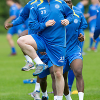 St Johnstone Training... Tom Scobbie pictured during training<br /> Picture by Graeme Hart.<br /> Copyright Perthshire Picture Agency<br /> Tel: 01738 623350  Mobile: 07990 594431