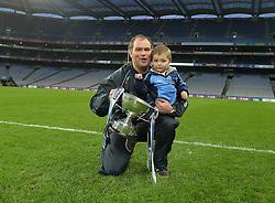 Tom Higgins Westport selector celebrates with his son Patrick in Croke Park.<br />Pic Conor McKeown
