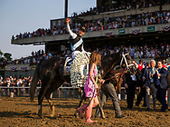 ELMONT, NY - JUNE 10: Jose Ortiz celebrates after winning the Belmont Stakes aboard Tapwrit #2 at Belmont Park on June 10, 2017 in Elmont, New York. (Photo by Alex Evers/Eclipse Sportswire/Getty Images)