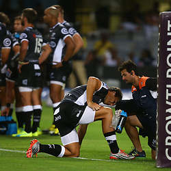 DURBAN, SOUTH AFRICA - MARCH 05:  DR Alan Kourie with Andre Esterhuizen of the Cell C Sharks during the 2016 Super Rugby match between Cell C Sharks and Jaguares at Growthpoint Kings Park Stadium on March 05, 2016 in Durban, South Africa. (Photo by Steve Haag/Gallo Images)
