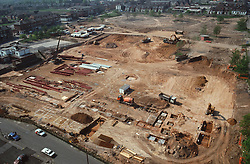Aerial view of new supermarket building site in inner city Nottingham,