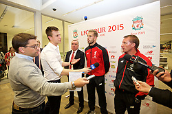 ADELAIDE, AUSTRALIA - Saturday, July 18, 2015: Liverpool's Managing Director Ian Ayre, captain Jordan Henderson and manager Brendan Rodgers during a press conference at Adelaide Airport ahead of a preseason friendly match against Adelaide United on day six of the club's preseason tour. (Pic by David Rawcliffe/Propaganda)