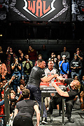 Baltimore, Maryland - May 17, 2018: World Armwrestling League heavyweight Marcio Barboza, left, competes against Matt Mask, during the WAL Supermatch Showdown Series at Rams Head Live in Baltimore, Thursday May 17th, 2018. Mask would win the match. Bleacher Report Live is the exclusive broadcaster of the event. With the recent advent of online video streaming services, niche sporting leagues are now able to sign broadcast deals. <br /> <br /> <br /> CREDIT: Matt Roth for The New York Times<br /> Assignment ID: 30219819A