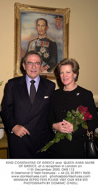 KING CONSTANTINE OF GREECE and  QUEEN ANNE-MARIE OF GREECE, at a reception in London on 11th December 2000.	OKB 112