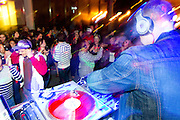 DJ Goldenchyld performs at the Silent Disco during Left Coast Live in Downtown San Jose, Calif., Oct. 8, 2011.  Photo by Stan Olszewski/SOSKIphoto