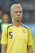 12 August 2008: Caroline Seger (SWE).  The women's Olympic team of Sweden defeated the women's Olympic soccer team of Canada 2-1 at Beijing Workers' Stadium in Beijing, China in a Group E round-robin match in the Women's Olympic Football competition.