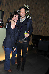 "JAMIE HINCE and MIRANDA DAVIS at a party to celebrate the launch of Meg Matthews' blog - ""Meg says"" at the bar at Ni Ju San, 23 St.James's Street, London on 1st December 2011."