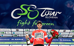 Winner Luka Mezgec (SLO) of Mitchelton - Scott celebrates in red jersey as best in sprint classification at trophy ceremony after the 2nd Stage of 26th Tour of Slovenia 2019 cycling race between Maribor and Celje (146,3 km), on June 20, 2019 in  Slovenia. Photo by Vid Ponikvar / Sportida