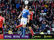 Brett Pitman goes for the ball during the EFL Sky Bet League 1 match between Sunderland and Portsmouth at the Stadium Of Light, Sunderland, England on 27 April 2019.