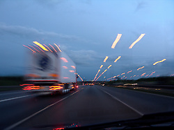 UK ENGLAND 6JUL08 - Evening lights while driving along the A1M southbound from Newcastle, northern England...jre/Photo by Jiri Rezac..© Jiri Rezac 2008..Contact: +44 (0) 7050 110 417.Mobile:  +44 (0) 7801 337 683.Office:  +44 (0) 20 8968 9635..Email:   jiri@jirirezac.com.Web:    www.jirirezac.com..All images © Jiri Rezac 2008. All rights reserved.