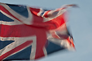 British flag flying in the breeze.