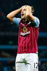 Joe Cole of Aston Villa holds his heads the ball in disbelief after a missed shot - Photo mandatory by-line: Rogan Thomson/JMP - 07966 386802 - 27/08/2014 - SPORT - FOOTBALL - Villa Park, Birmingham - Aston Villa v Leyton Orient - Capital One Cup Round 2.