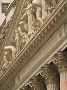 detail of frieze above New York Stock exchanges big pillars