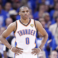 12 June 2012: Oklahoma City Thunder point guard Russell Westbrook (0) rests during the Oklahoma City Thunder 105-94 victory over the Miami Heat, in Game 1 of the 2012 NBA Finals, at the Chesapeake Energy Arena, Oklahoma City, Oklahoma, USA.